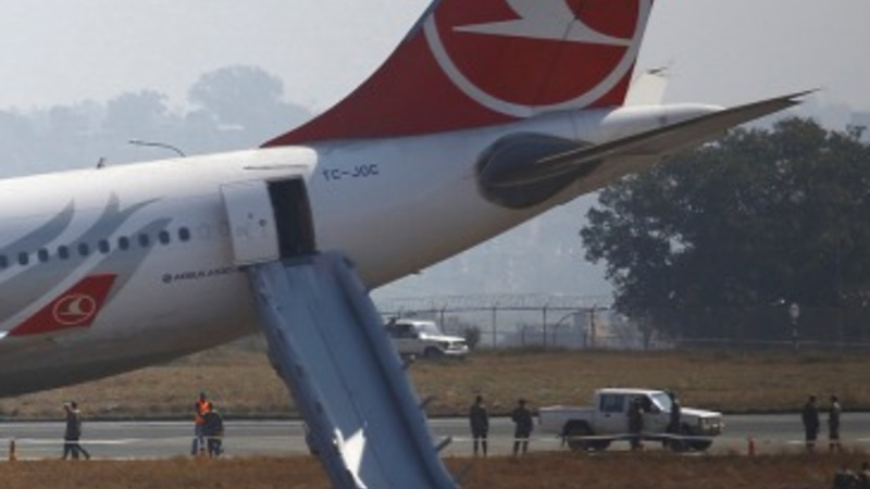Plane skids off Nepal runway