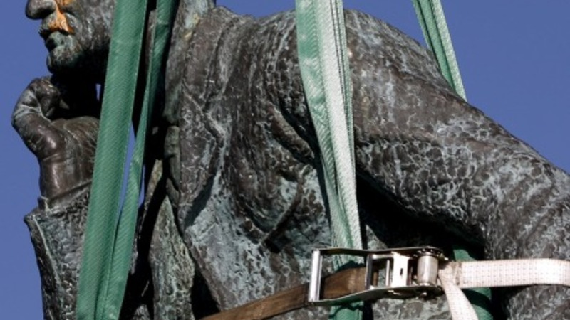 Controversial statue on its way out