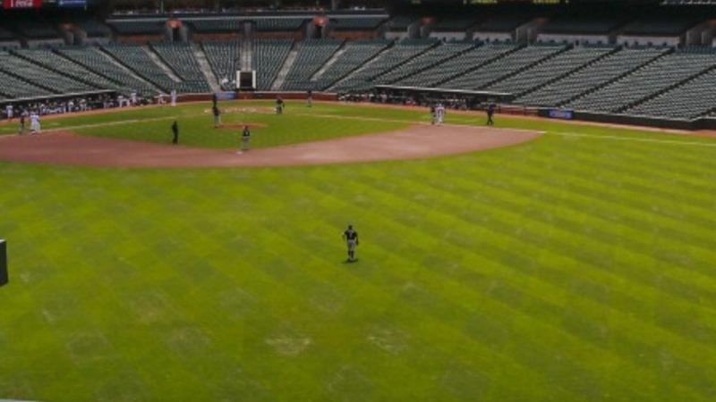 Baltimore Orioles play before empty stadium