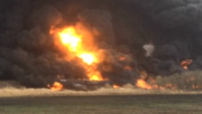 Crude oil train derails in North Dakota