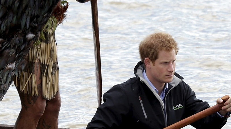 Prince Harry takes to the water in a waka