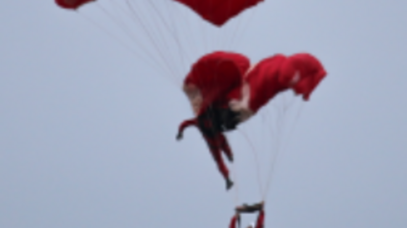 Display parachutist has lucky escape