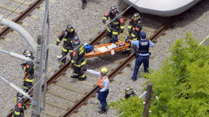 Japan bullet train stopped by man on fire