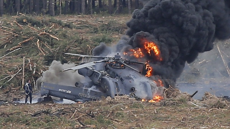 Russian helicopter crashes in air show
