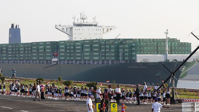 Bigger Suez Canal opens, but demand in doubt