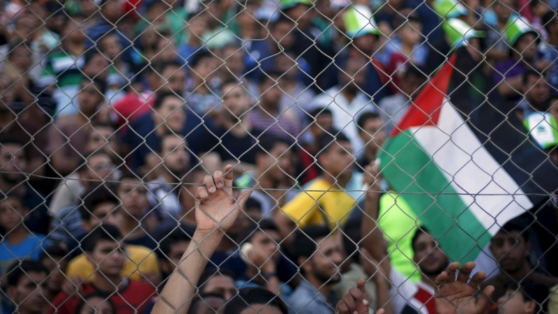 Palestinians in a rare football face off