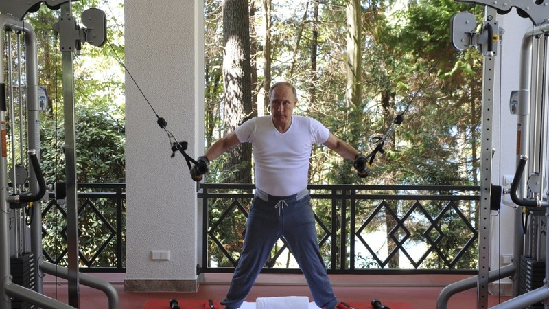 Russia's strong man pumps iron