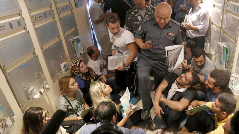 Protesters storm government offices in Beirut