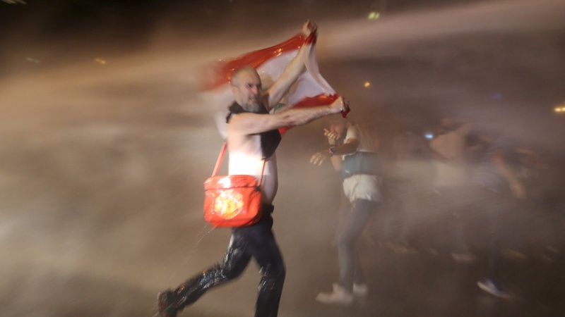 Beirut anti-government protest turns violent