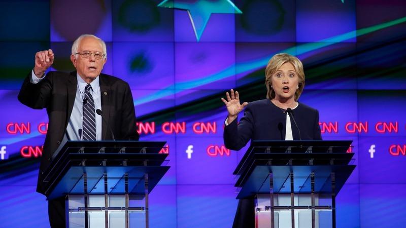 Clinton takes on Sanders in Vegas