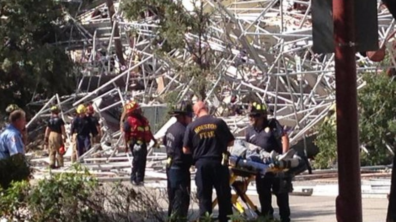Huge scaffolding collapse in Houston