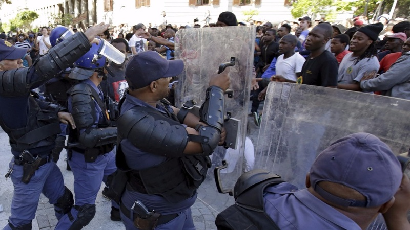 South Africa's protests march to parliament