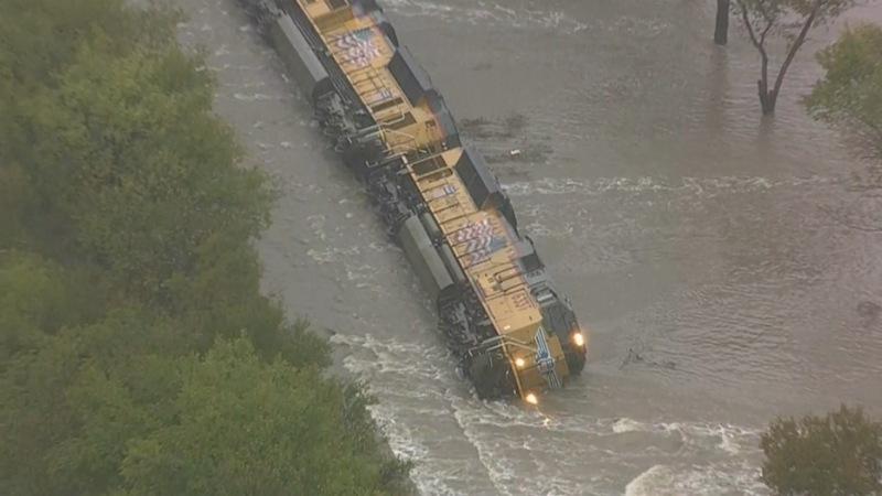 Rain takes out train in Texas