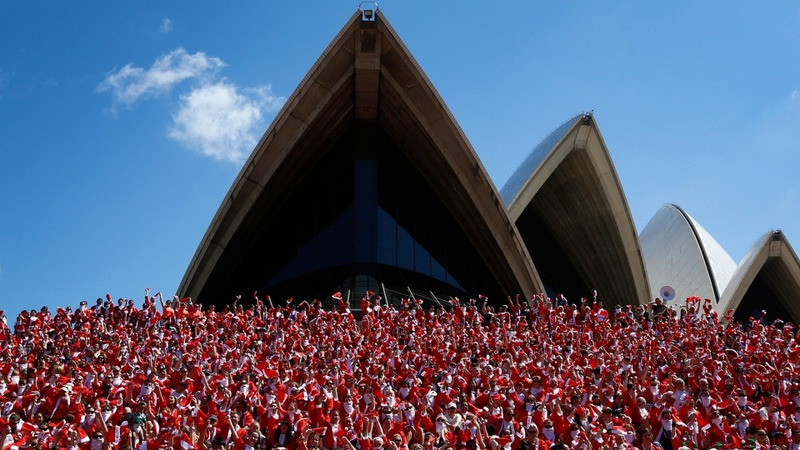 Santas take to streets of Sydney