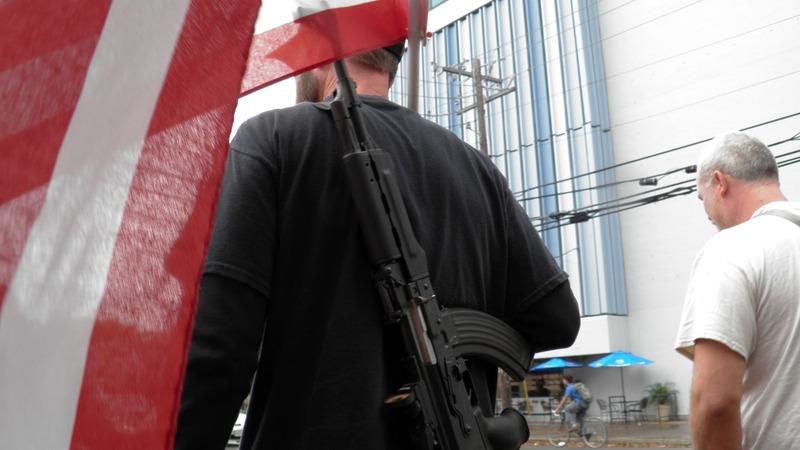 Counter-protesters outgun mock mass shooting