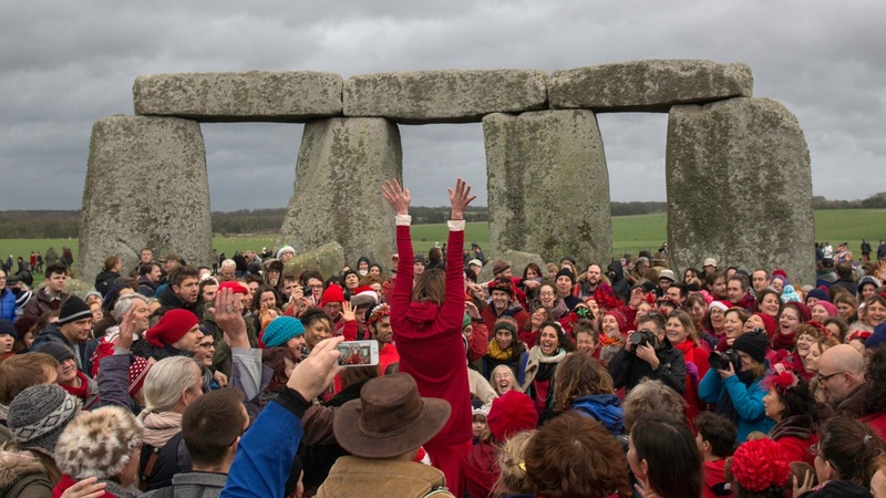 Revelers celebrate winter solstice at Stonehenge