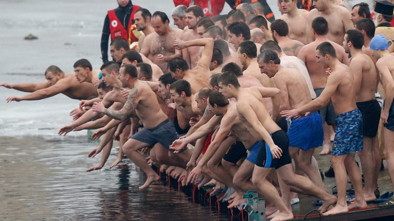 Diving for good luck on Orthodox Christmas