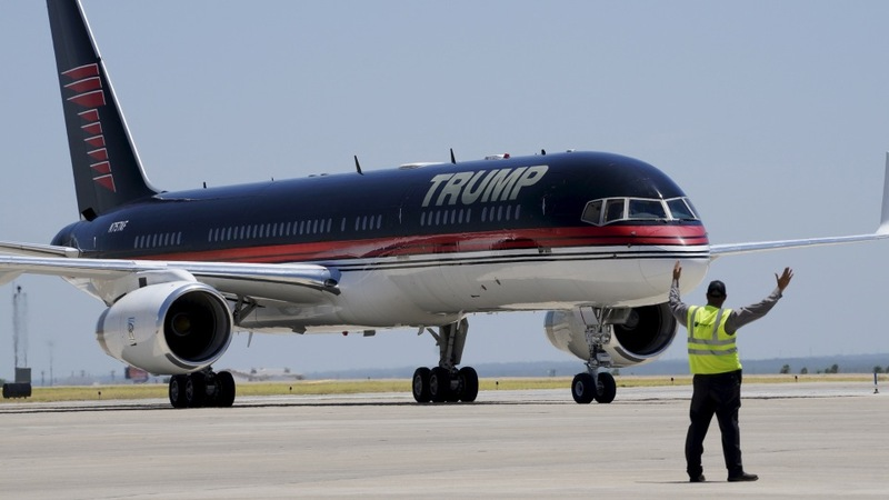Trump's trail dotted with airports, not bus stops