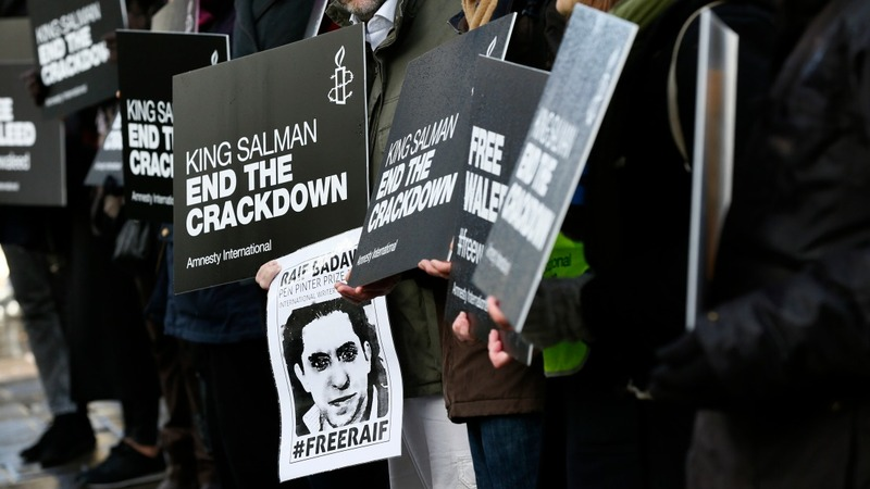 Protests in London for jailed Saudi blogger