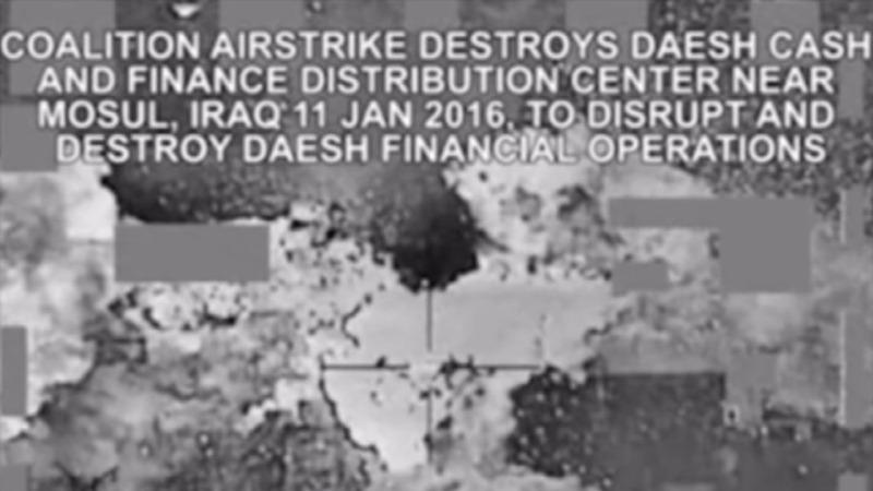 Islamic State cash blown up in airstrike
