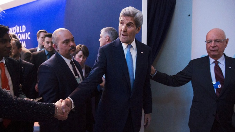 Kerry defends Iran as Davos looks to the stars