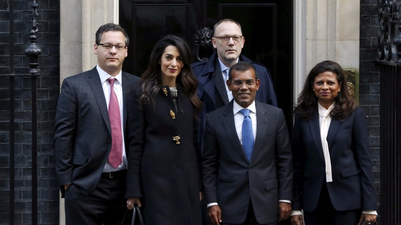 Maldives ex-president at No 10 with Mrs Clooney