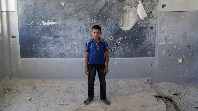 Destroyed classroom stresses Syria's plight