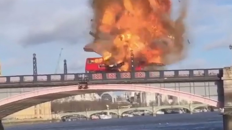 Hollywood bus explosion terrifies Londoners