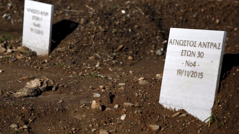 Unknown dead fill Lesbos cemetery