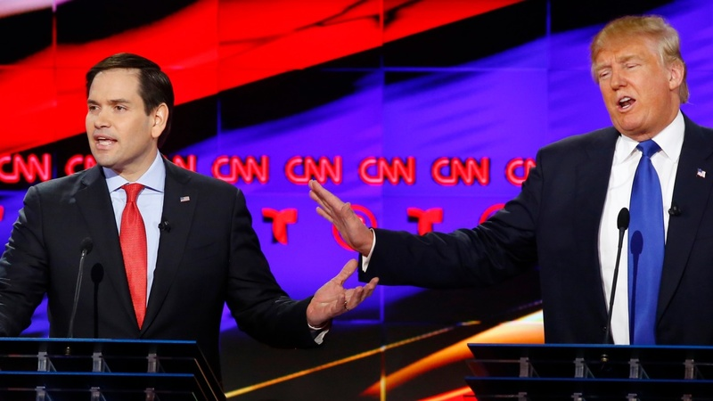 Rubio pounds Trump ahead of Super Tuesday