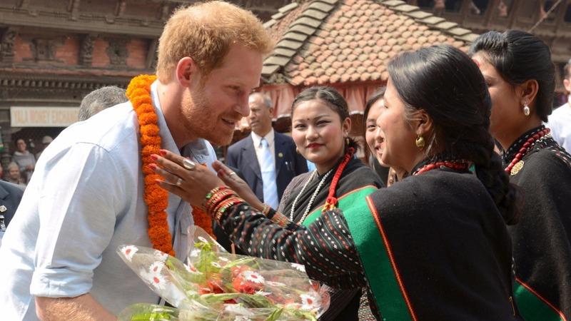 Prince Harry visits Nepal quake sites
