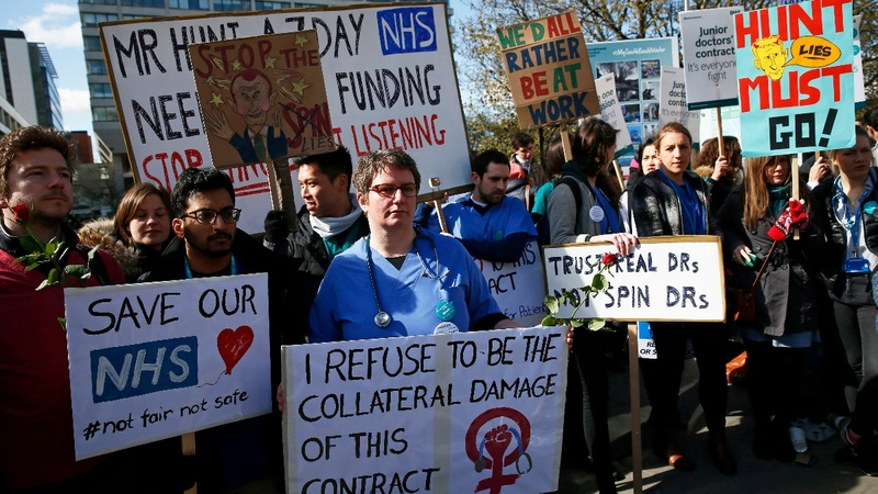 English hospitals grind to halt during strikes