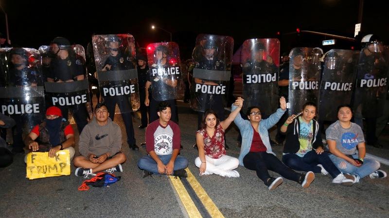 Violent clashes at California Trump protest