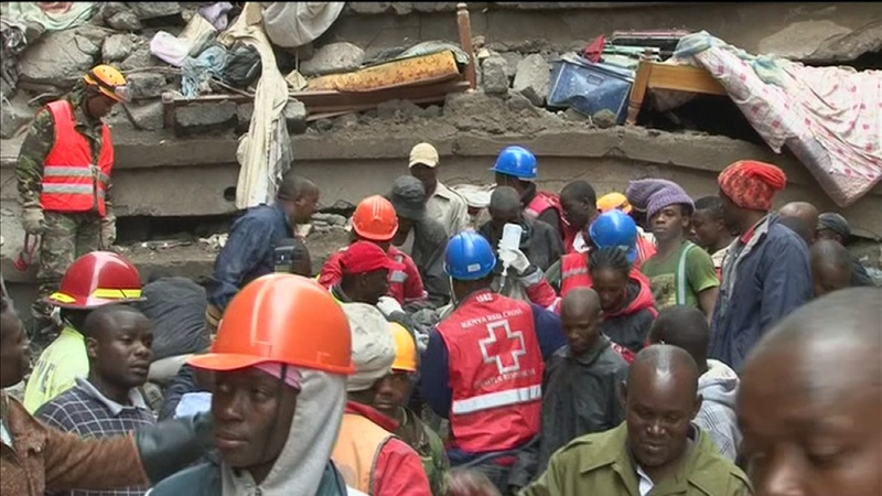 Race to free survivors in Kenya building collapse