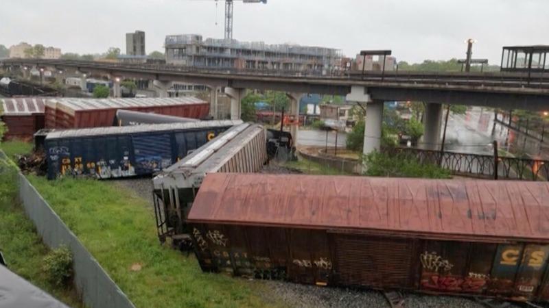 Train derailment in D.C. leaks hazardous liquid