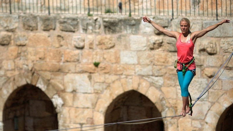 INSIGHT: U.S. slackliner walks narrow line in Jerusalem