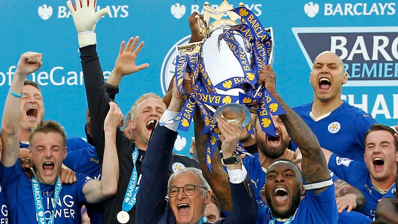 Leicester City lift the Premier League trophy