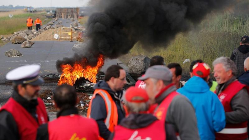 French nuclear plant strike looms amid blockades