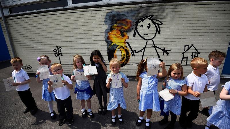 Banksy artwork appears on school wall