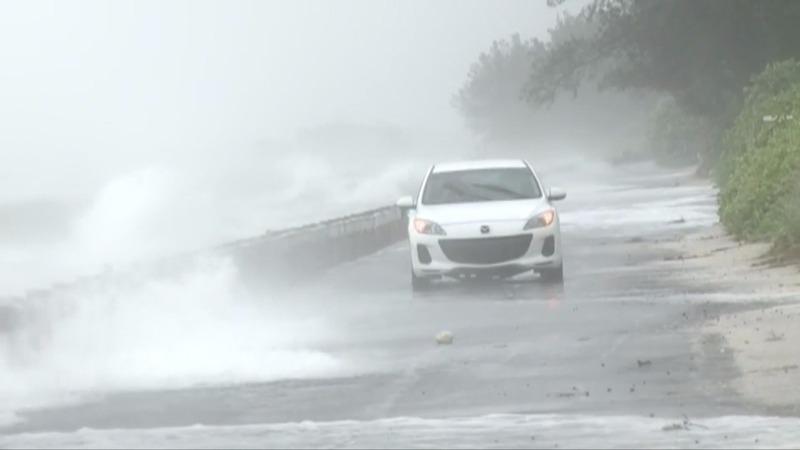 Tropical storm Colin's coastal barrage