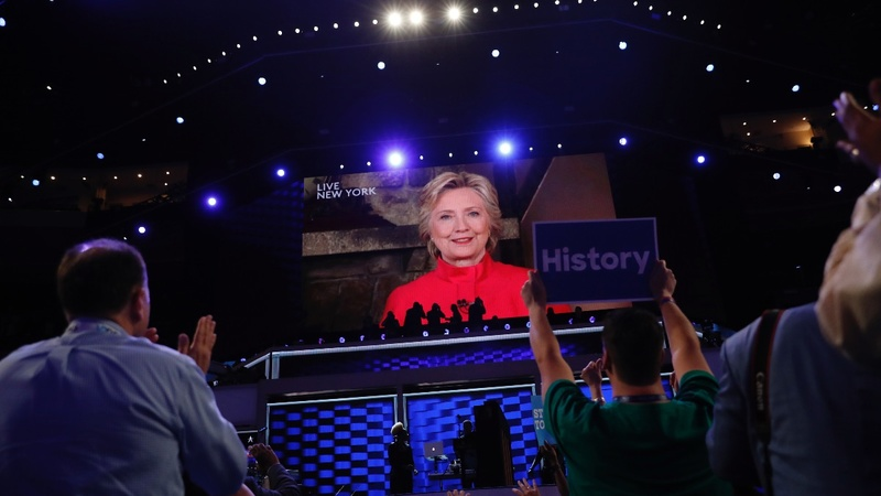 Clinton shatters 'glass ceiling,' named Dems' nominee