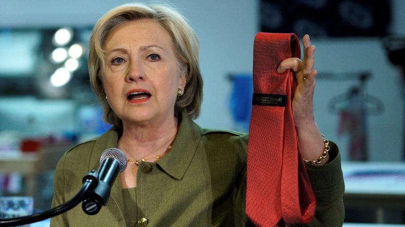 VERBATIM: Clinton targets Trump at tie factory stop