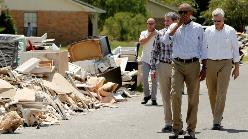 President Obama visits flood-ravaged Louisiana