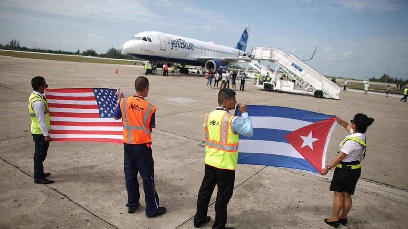 On board for a historic flight to Cuba