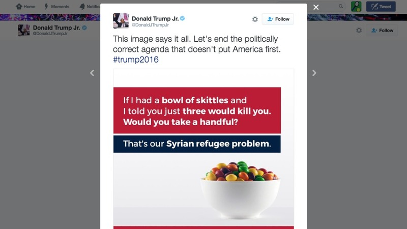 Trump Jr. compares refugees to Skittles
