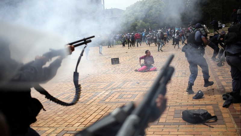 Stun grenades fired at South African students