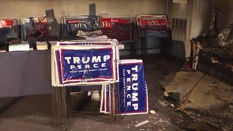 Trump blames Clinton supporters for arson attack