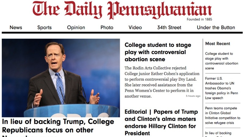 Papers at candidates' alma maters endorse Clinton