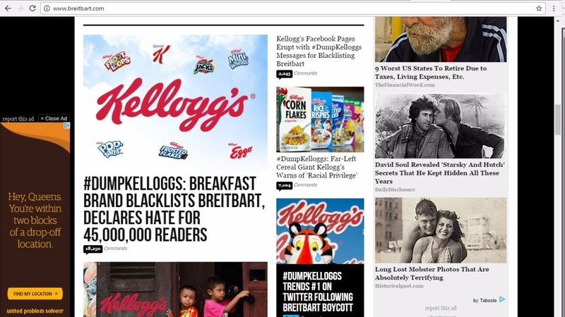 Brietbart.com calls for Kellogg boycott in ad fight
