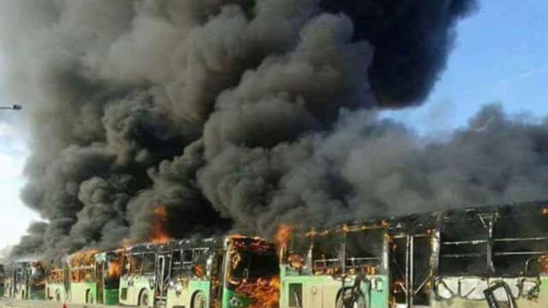 Aleppo evacuations resume after bus blaze